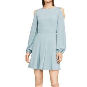 Baby Blue Dress with Open Shoulder Button Details